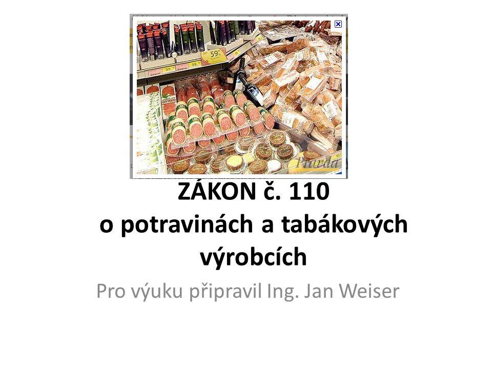 ZÁKON č. 110 o potravinách a tabákových výrobcích Pro výuku připravil Ing. Jan Weiser