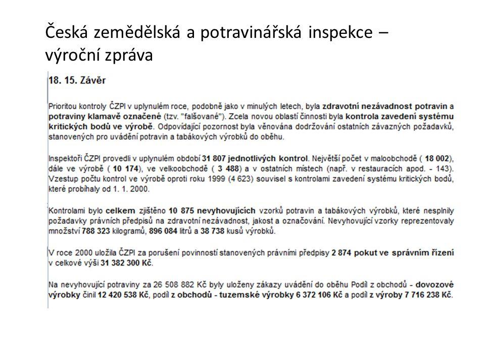 Česká zemědělská a potravinářská inspekce – výroční zpráva