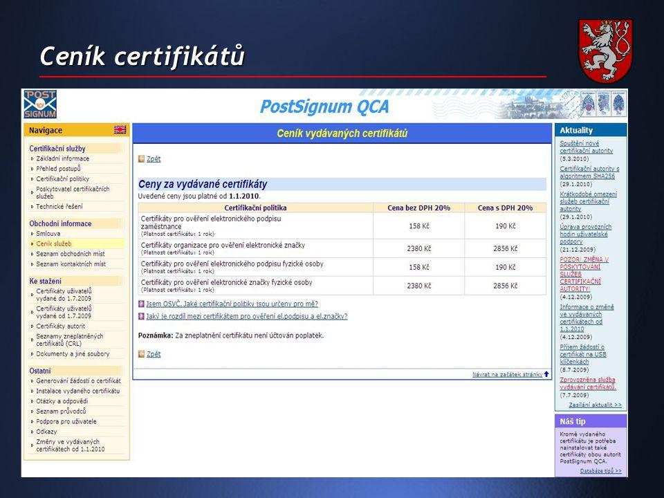 Ceník certifikátů