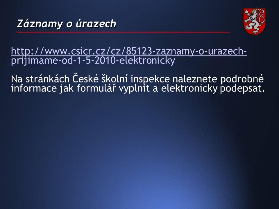 Záznamy o úrazech http://www.csicr.cz/cz/85123-zaznamy-o-urazech- prijimame-od-1-5-2010-elektronicky Na stránkách České školní inspekce naleznete podrobné informace jak formulář vyplnit a elektronicky podepsat.