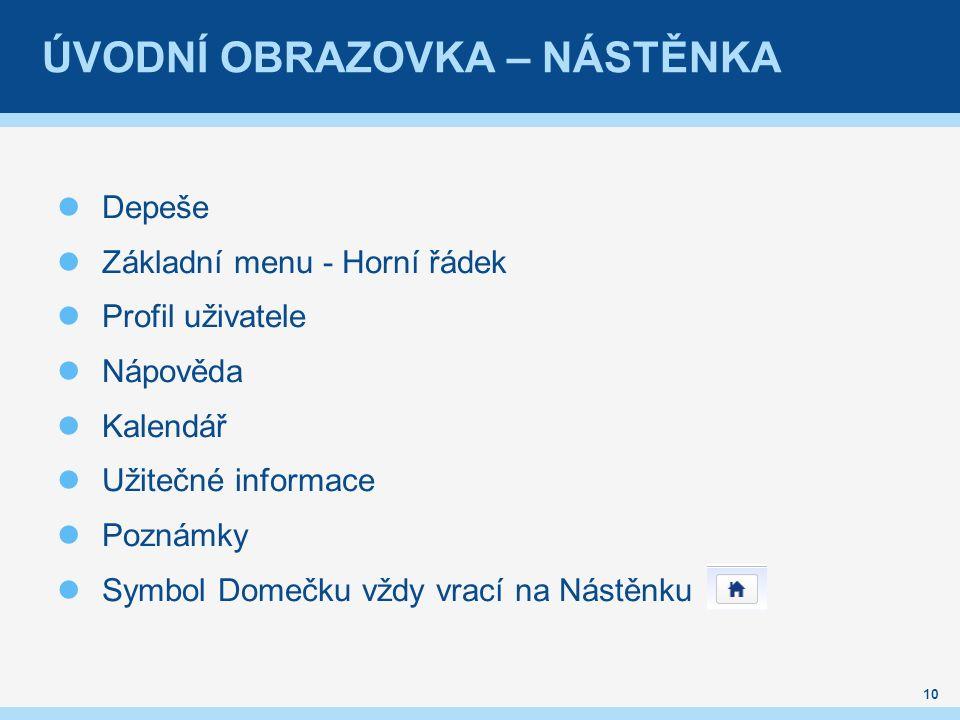 Depeše Základní menu - Horní řádek Profil uživatele Nápověda Kalendář Užitečné informace Poznámky Symbol Domečku vždy vrací na Nástěnku 10