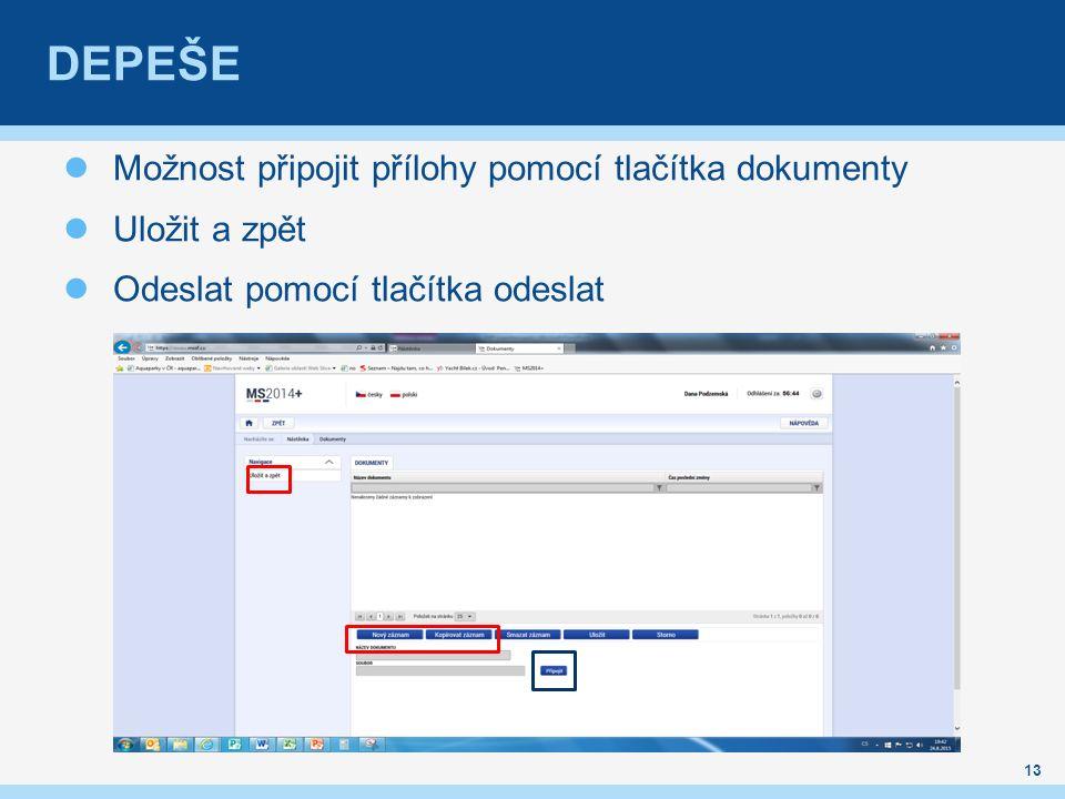 DEPEŠE Možnost připojit přílohy pomocí tlačítka dokumenty Uložit a zpět Odeslat pomocí tlačítka odeslat 13
