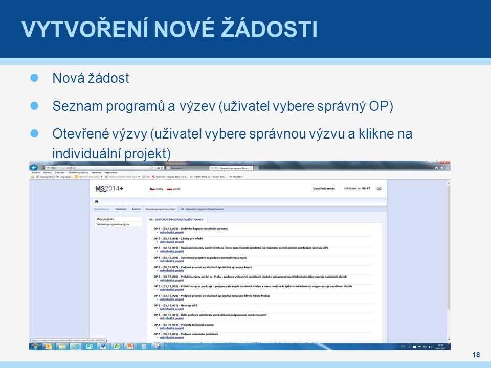 VYTVOŘENÍ NOVÉ ŽÁDOSTI Nová žádost Seznam programů a výzev (uživatel vybere správný OP) Otevřené výzvy (uživatel vybere správnou výzvu a klikne na individuální projekt) 18