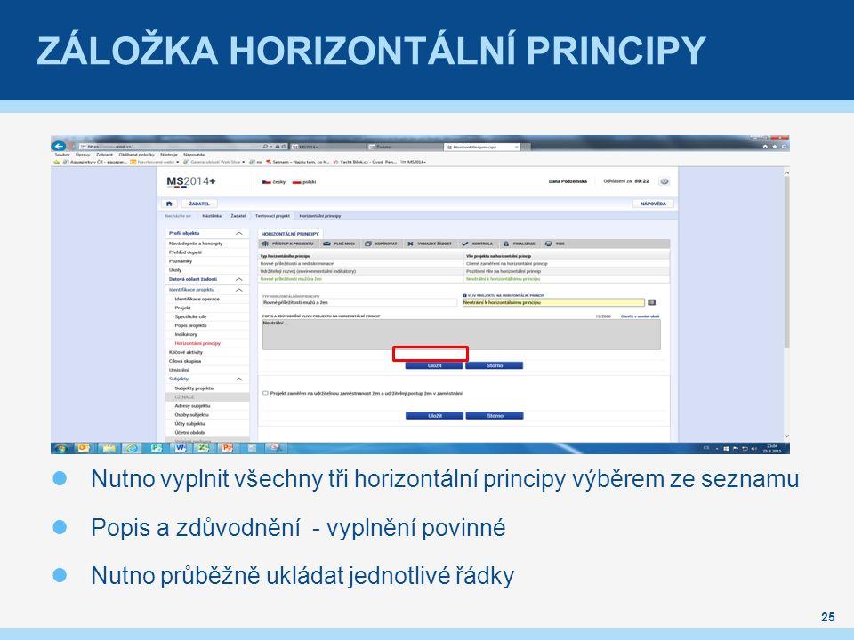 ZÁLOŽKA HORIZONTÁLNÍ PRINCIPY Nutno vyplnit všechny tři horizontální principy výběrem ze seznamu Popis a zdůvodnění - vyplnění povinné Nutno průběžně ukládat jednotlivé řádky 25