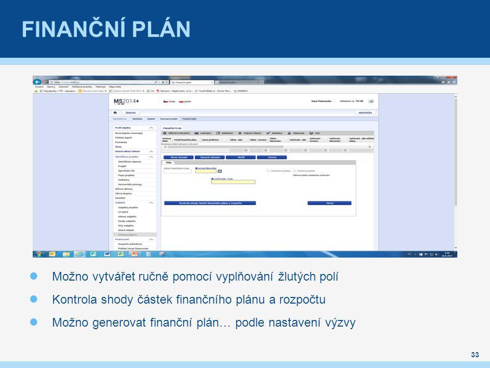 FINANČNÍ PLÁN 33 Možno vytvářet ručně pomocí vyplňování žlutých polí Kontrola shody částek finančního plánu a rozpočtu Možno generovat finanční plán…