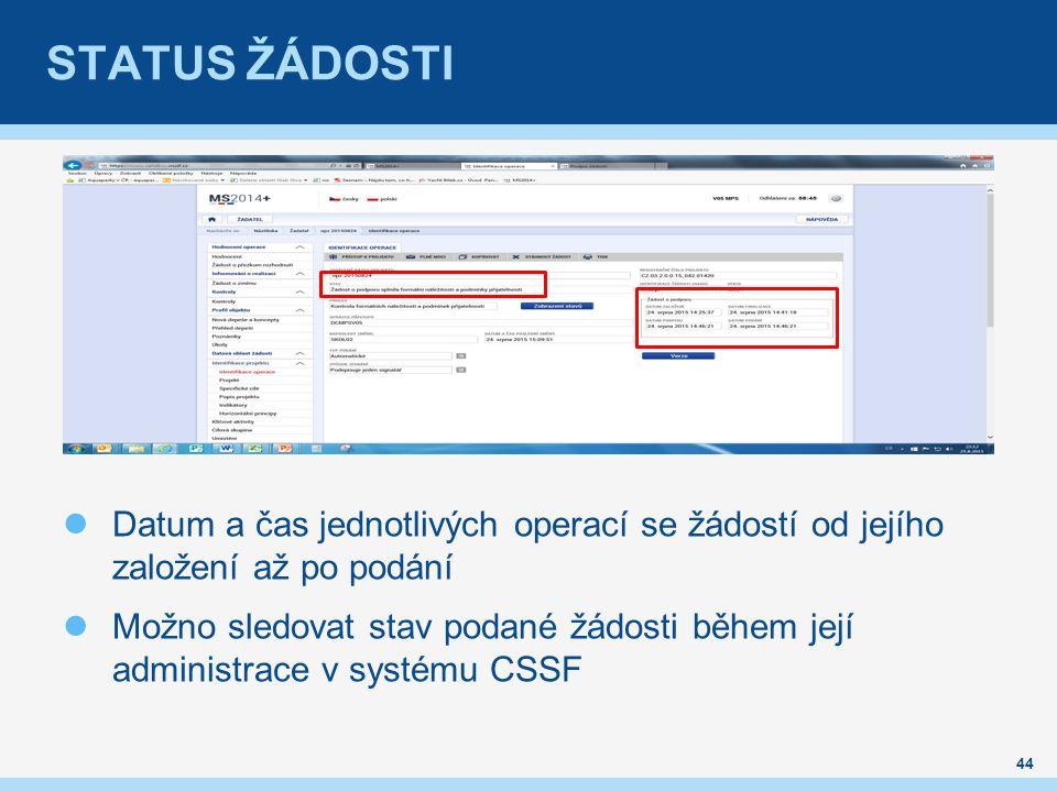 STATUS ŽÁDOSTI Datum a čas jednotlivých operací se žádostí od jejího založení až po podání Možno sledovat stav podané žádosti během její administrace v systému CSSF 44