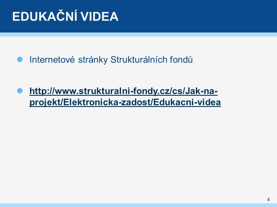 EDUKAČNÍ VIDEA Internetové stránky Strukturálních fondů http://www.strukturalni-fondy.cz/cs/Jak-na- projekt/Elektronicka-zadost/Edukacni-videa 5