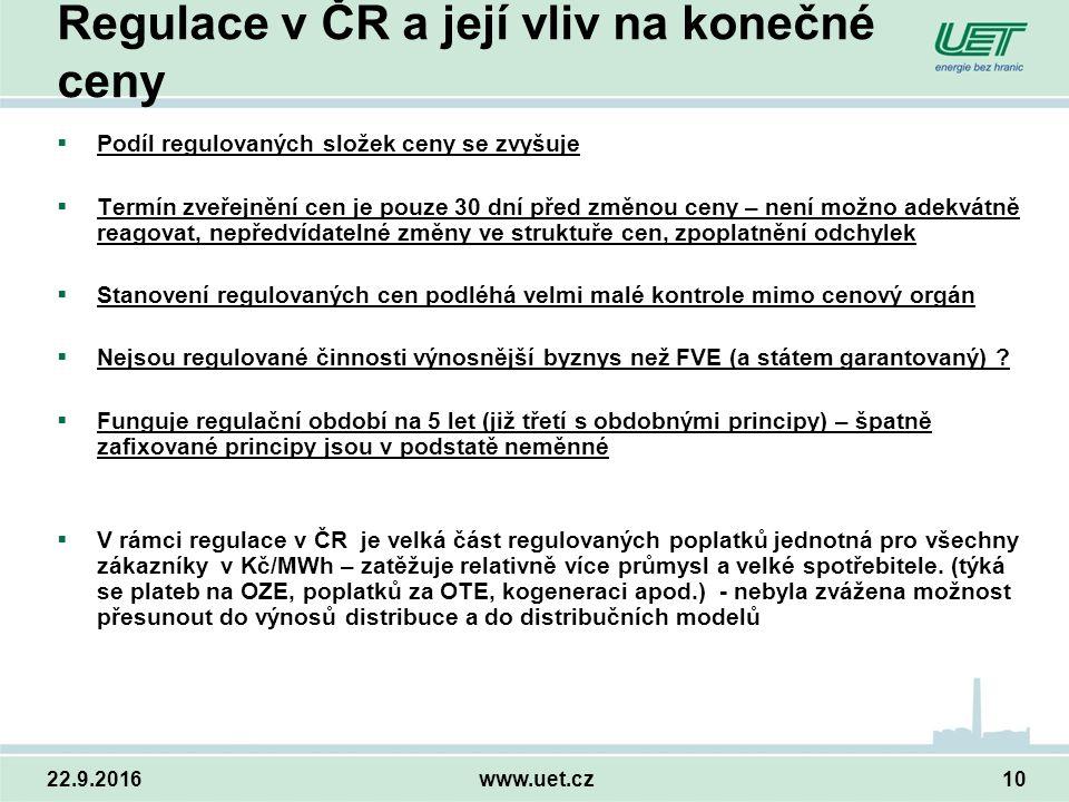 22.9.2016www.uet.cz10 Regulace v ČR a její vliv na konečné ceny  Podíl regulovaných složek ceny se zvyšuje  Termín zveřejnění cen je pouze 30 dní před změnou ceny – není možno adekvátně reagovat, nepředvídatelné změny ve struktuře cen, zpoplatnění odchylek  Stanovení regulovaných cen podléhá velmi malé kontrole mimo cenový orgán  Nejsou regulované činnosti výnosnější byznys než FVE (a státem garantovaný) .
