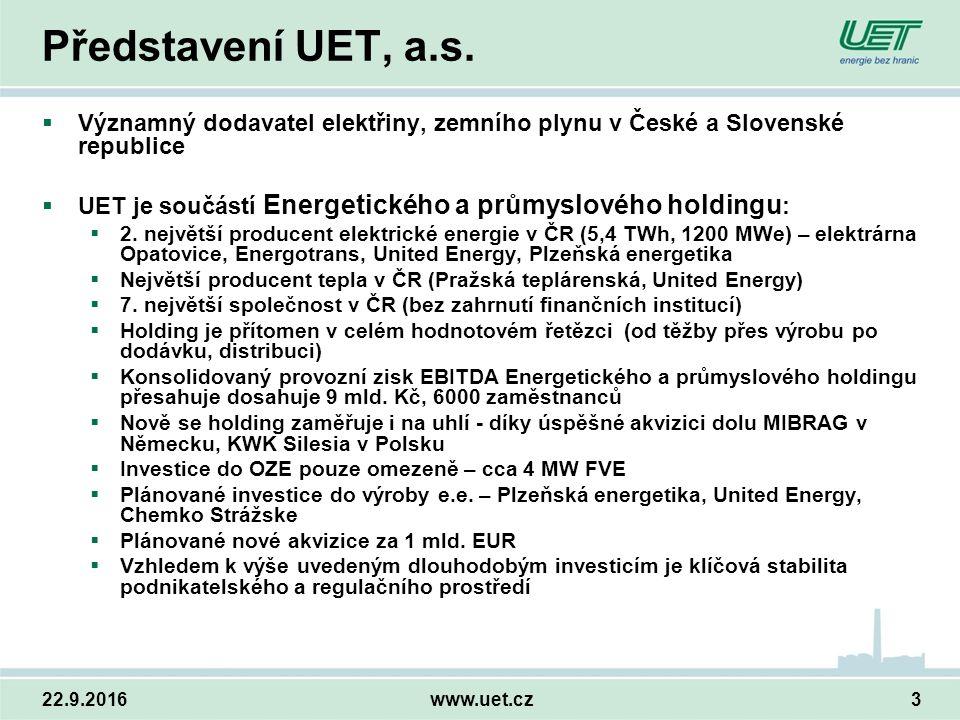 22.9.2016www.uet.cz3 Představení UET, a.s.