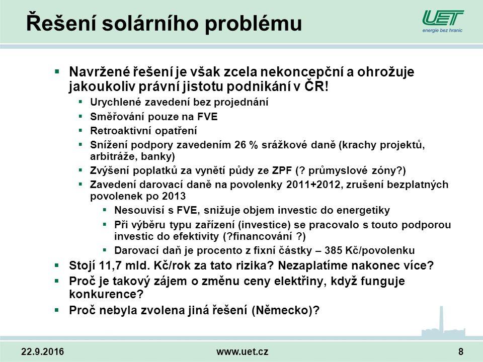 22.9.2016www.uet.cz8 Řešení solárního problému  Navržené řešení je však zcela nekoncepční a ohrožuje jakoukoliv právní jistotu podnikání v ČR.