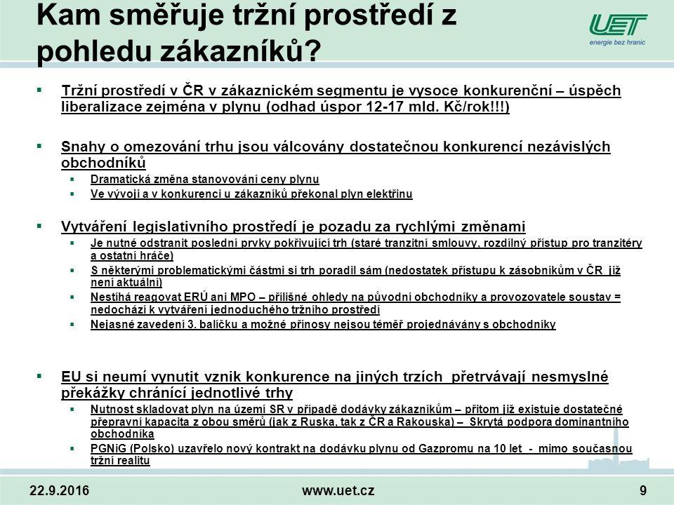 22.9.2016www.uet.cz9 Kam směřuje tržní prostředí z pohledu zákazníků.
