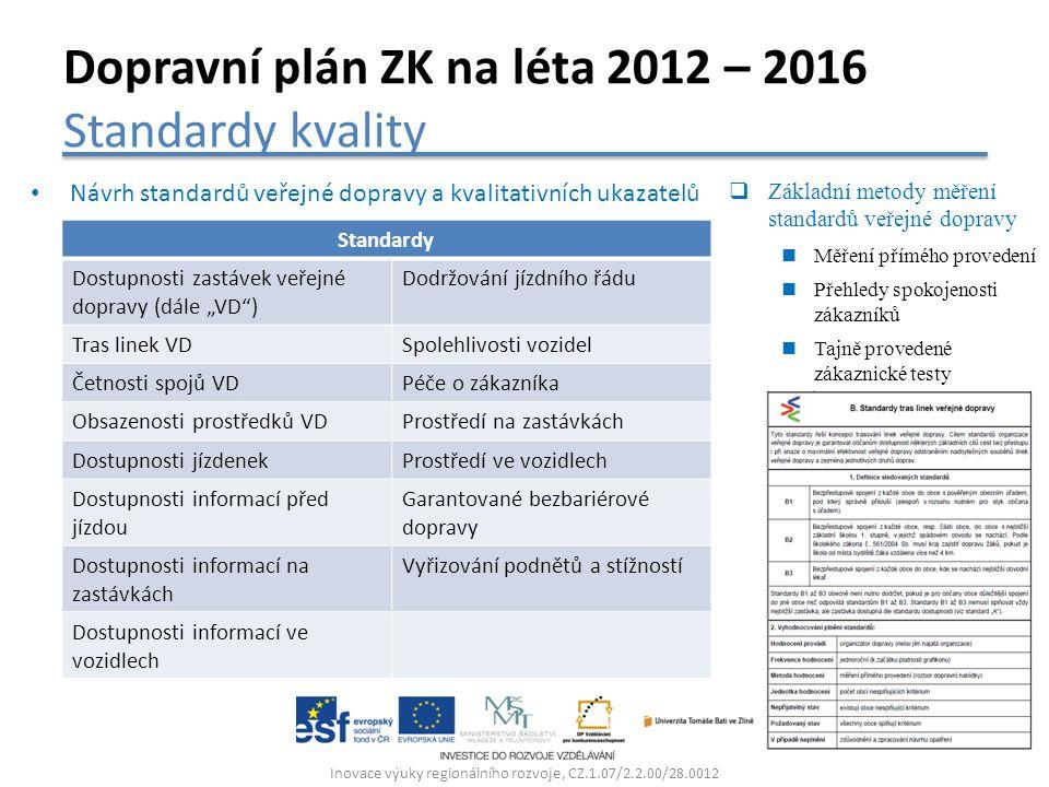Inovace výuky regionálního rozvoje, CZ.1.07/2.2.00/28.0012 Dopravní plán ZK na léta 2012 – 2016 Standardy kvality Návrh standardů veřejné dopravy a kv