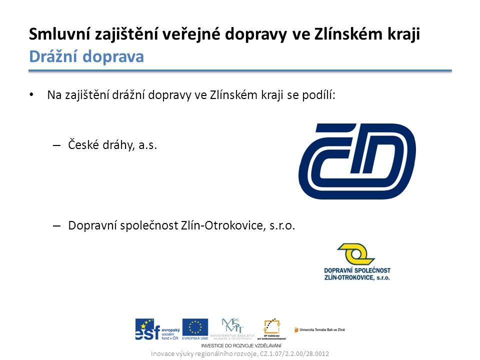 Na zajištění drážní dopravy ve Zlínském kraji se podílí: – České dráhy, a.s. – Dopravní společnost Zlín-Otrokovice, s.r.o. Inovace výuky regionálního