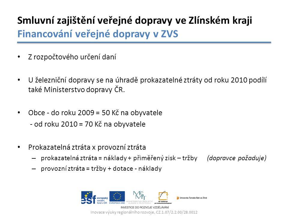 Z rozpočtového určení daní U železniční dopravy se na úhradě prokazatelné ztráty od roku 2010 podílí také Ministerstvo dopravy ČR.
