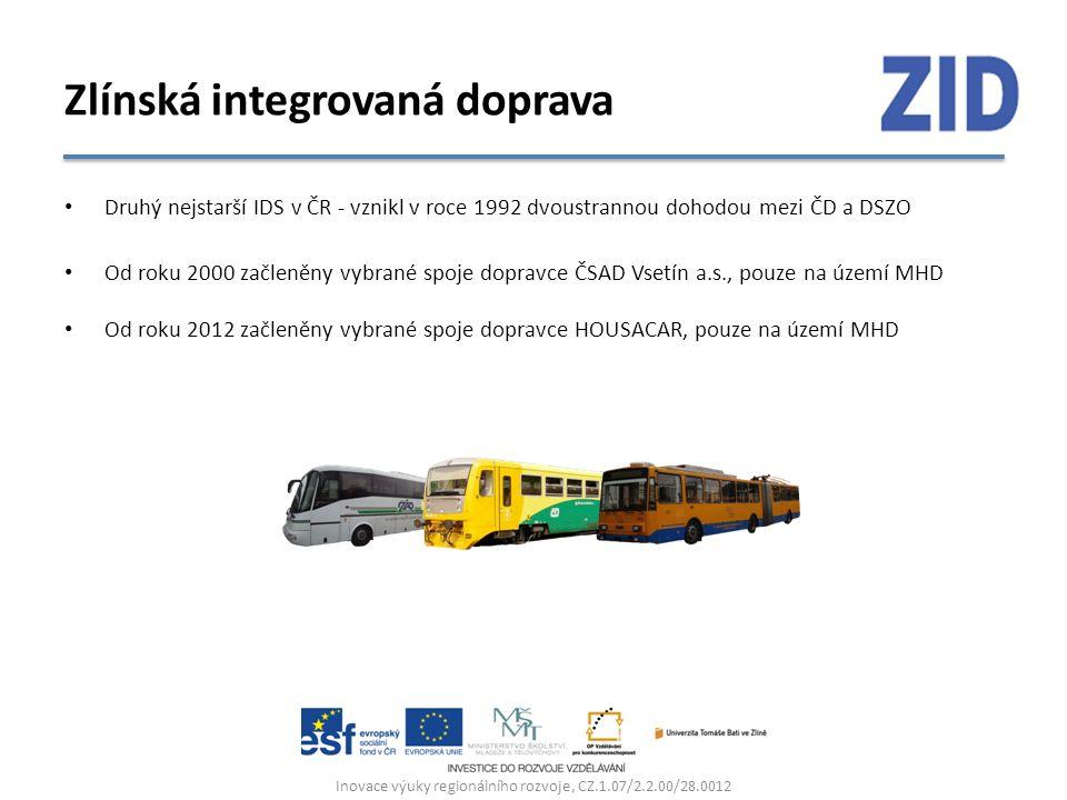 Druhý nejstarší IDS v ČR - vznikl v roce 1992 dvoustrannou dohodou mezi ČD a DSZO Od roku 2000 začleněny vybrané spoje dopravce ČSAD Vsetín a.s., pouze na území MHD Od roku 2012 začleněny vybrané spoje dopravce HOUSACAR, pouze na území MHD Inovace výuky regionálního rozvoje, CZ.1.07/2.2.00/28.0012 Zlínská integrovaná doprava