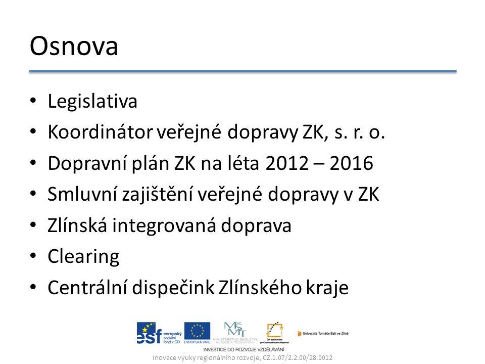 Osnova Legislativa Koordinátor veřejné dopravy ZK, s. r. o. Dopravní plán ZK na léta 2012 – 2016 Smluvní zajištění veřejné dopravy v ZK Zlínská integr