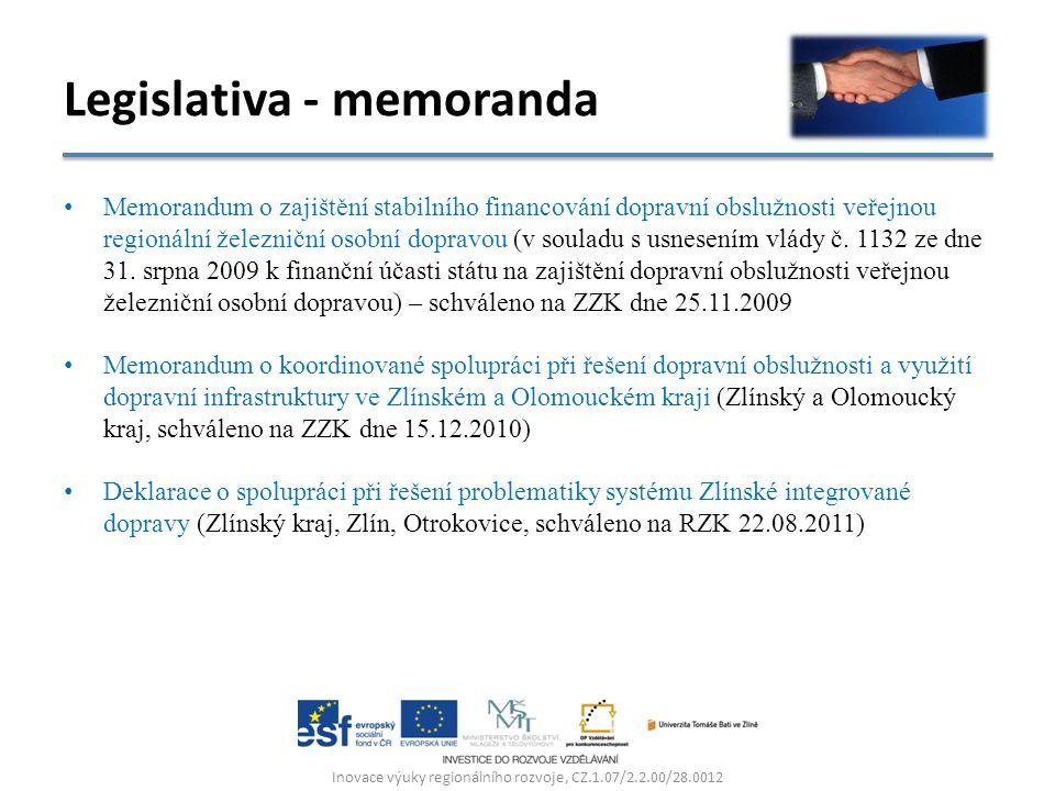 Memorandum o zajištění stabilního financování dopravní obslužnosti veřejnou regionální železniční osobní dopravou (v souladu s usnesením vlády č.