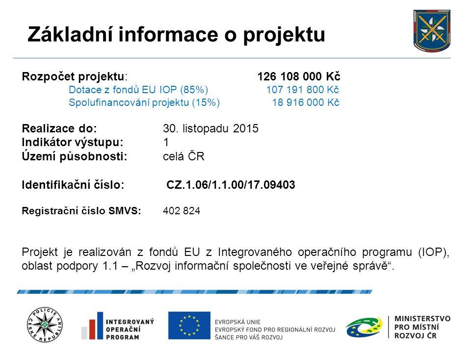 Základní informace o projektu 22.9.2016 3 Rozpočet projektu: 126 108 000 Kč Dotace z fondů EU IOP (85%) 107 191 800 Kč Spolufinancování projektu (15%)