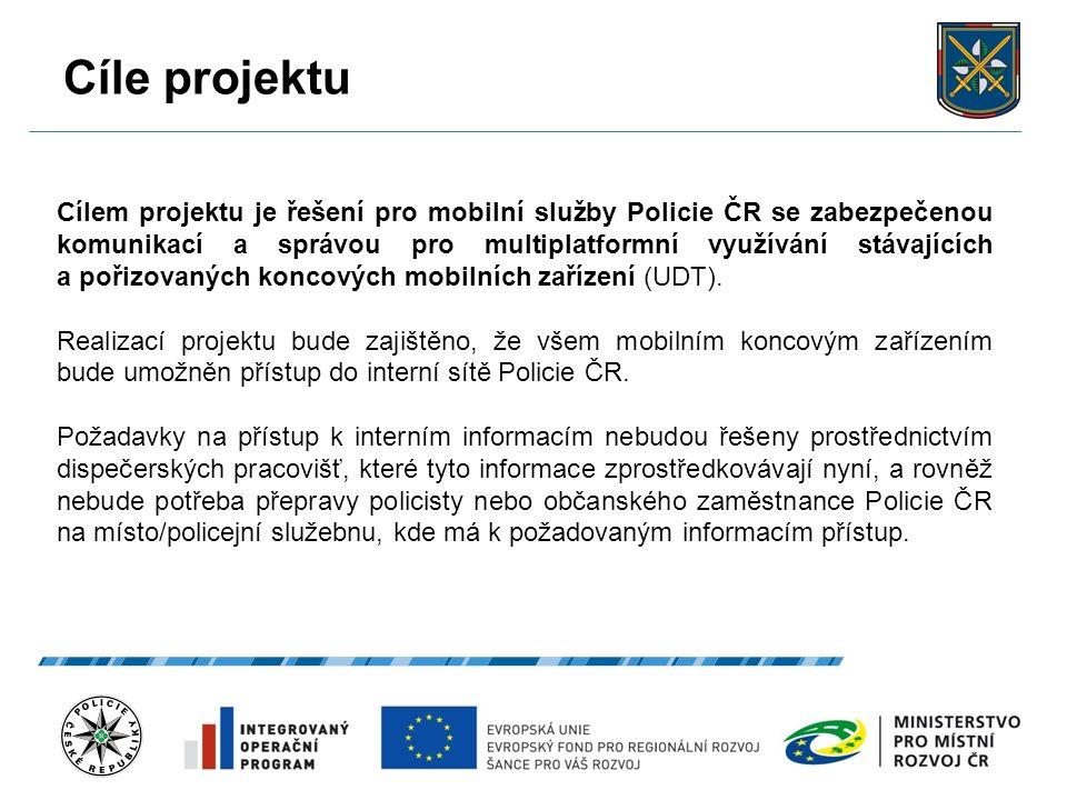 Cíle projektu 22.9.2016 5 Cílem projektu je řešení pro mobilní služby Policie ČR se zabezpečenou komunikací a správou pro multiplatformní využívání st
