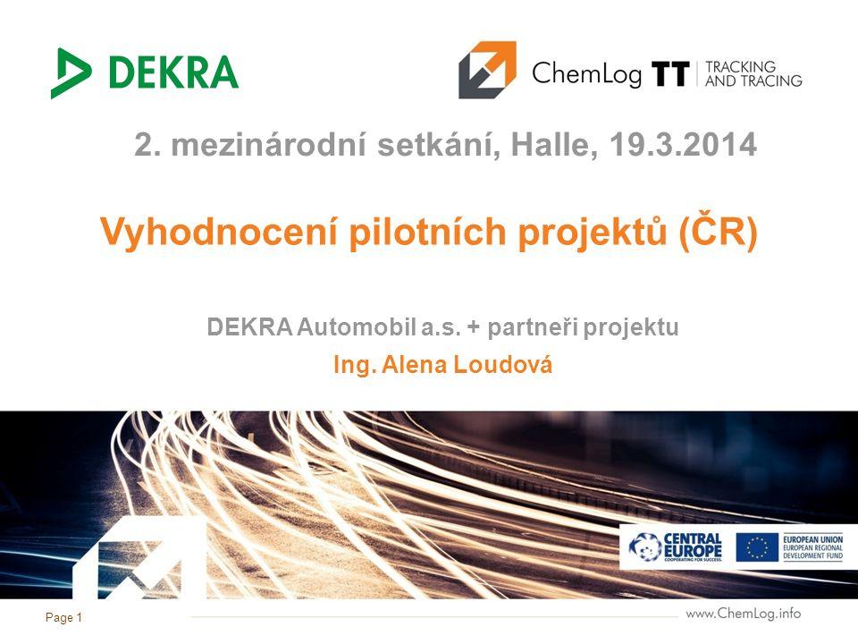 Page 1 Vyhodnocení pilotních projektů (ČR) 2. mezinárodní setkání, Halle, 19.3.2014 Ing. Alena Loudová DEKRA Automobil a.s. + partneři projektu