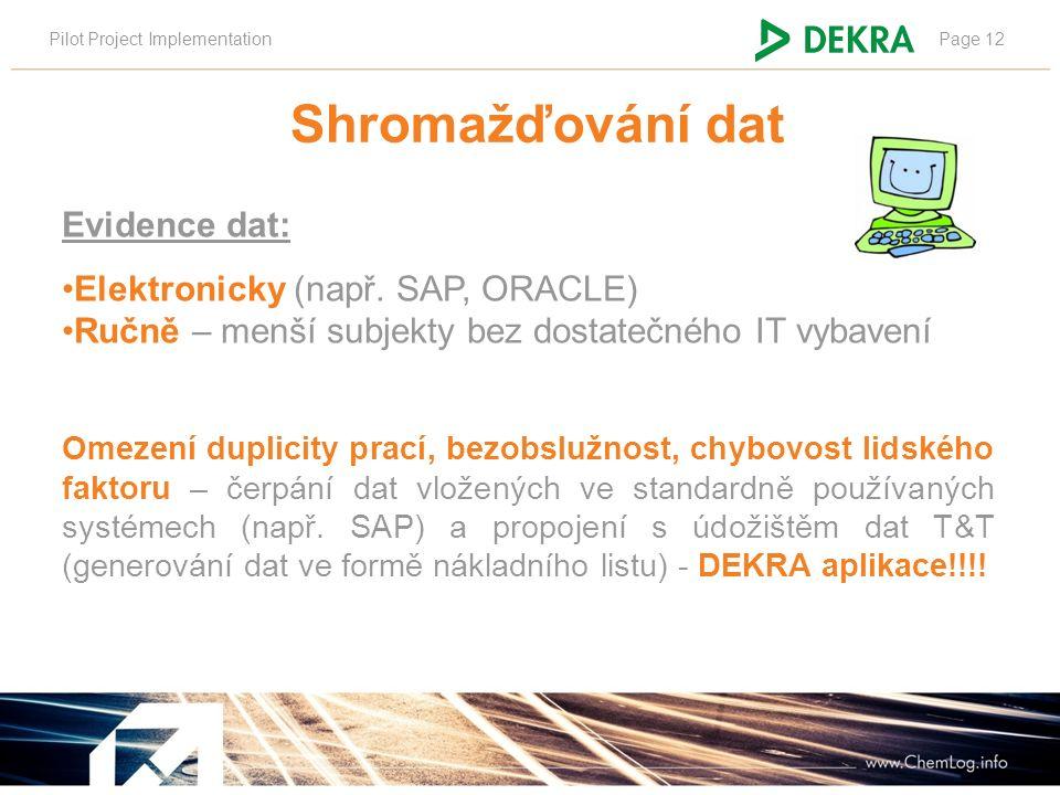 Pilot Project ImplementationPage 12 Evidence dat: Elektronicky (např. SAP, ORACLE) Ručně – menší subjekty bez dostatečného IT vybavení Omezení duplici