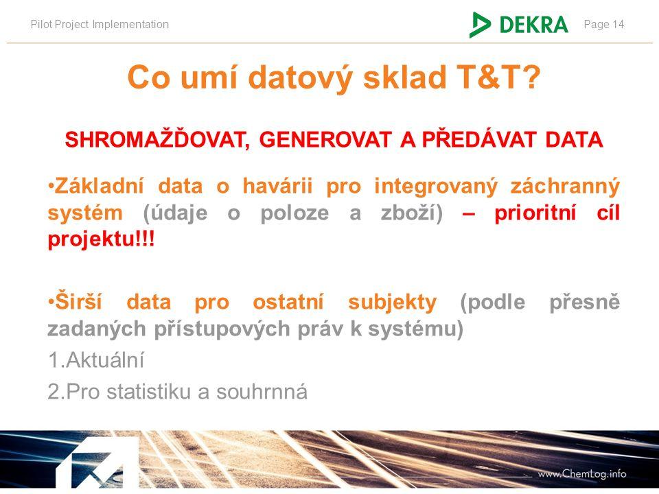 Pilot Project ImplementationPage 14 SHROMAŽĎOVAT, GENEROVAT A PŘEDÁVAT DATA Základní data o havárii pro integrovaný záchranný systém (údaje o poloze a
