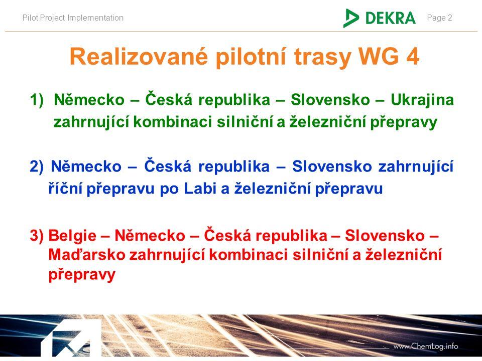 Pilot Project ImplementationPage 2 Realizované pilotní trasy WG 4 1)Německo – Česká republika – Slovensko – Ukrajina zahrnující kombinaci silniční a železniční přepravy 2) Německo – Česká republika – Slovensko zahrnující říční přepravu po Labi a železniční přepravu 3) Belgie – Německo – Česká republika – Slovensko – Maďarsko zahrnující kombinaci silniční a železniční přepravy