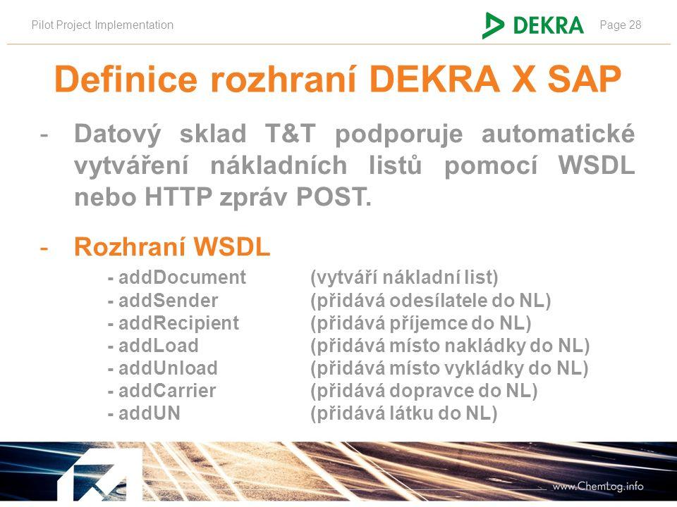 Pilot Project ImplementationPage 28 Definice rozhraní DEKRA X SAP -Datový sklad T&T podporuje automatické vytváření nákladních listů pomocí WSDL nebo HTTP zpráv POST.