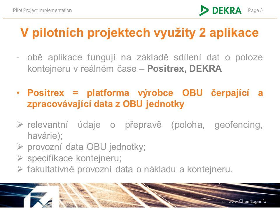 Pilot Project ImplementationPage 3 V pilotních projektech využity 2 aplikace -obě aplikace fungují na základě sdílení dat o poloze kontejneru v reálné