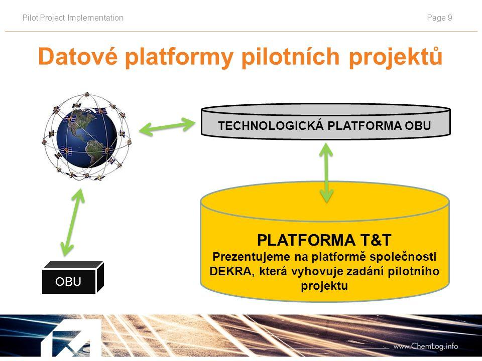 Pilot Project ImplementationPage 9 TECHNOLOGICKÁ PLATFORMA OBU PLATFORMA T&T Prezentujeme na platformě společnosti DEKRA, která vyhovuje zadání pilotního projektu OBU Datové platformy pilotních projektů