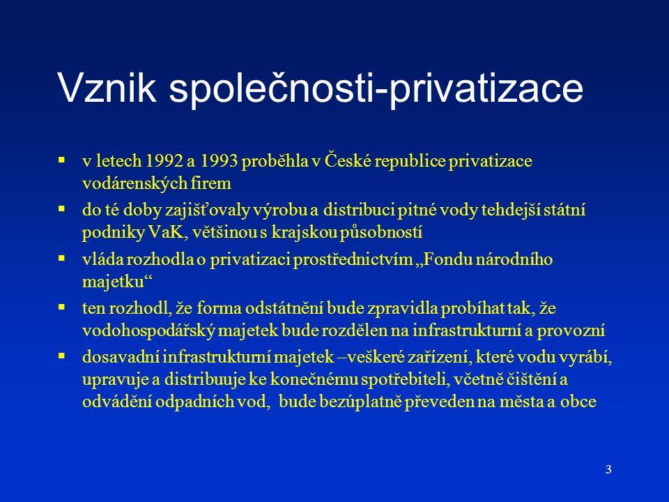 3 Vznik společnosti-privatizace  v letech 1992 a 1993 proběhla v České republice privatizace vodárenských firem  do té doby zajišťovaly výrobu a dis
