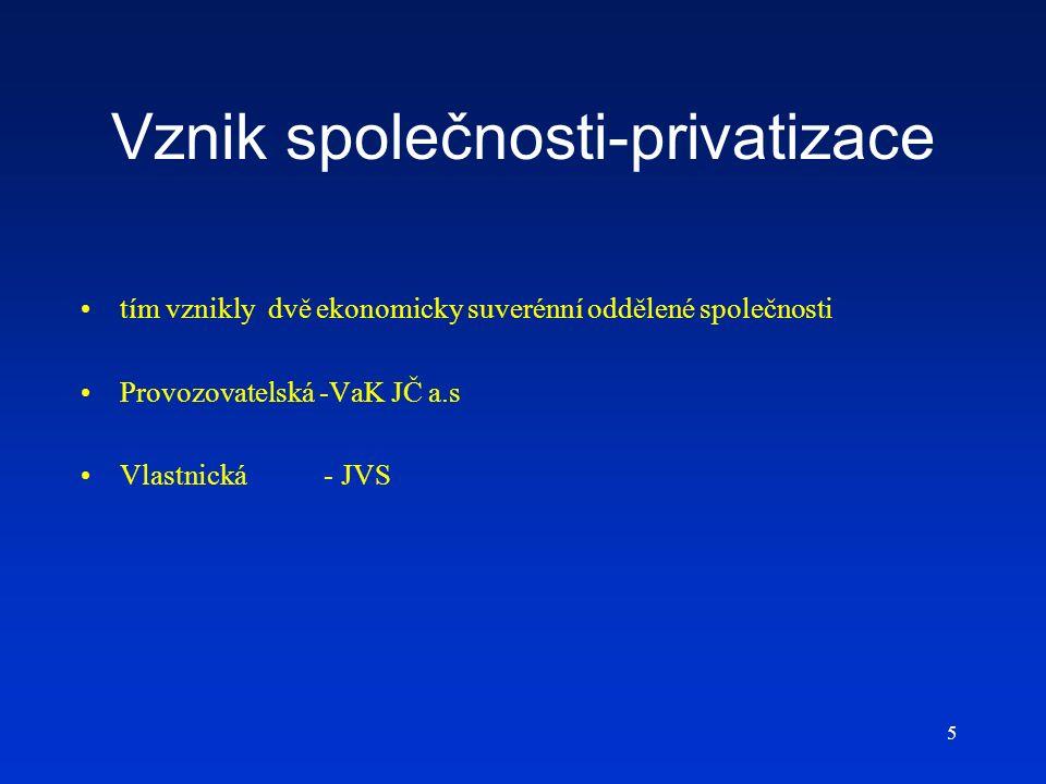 5 Vznik společnosti-privatizace tím vznikly dvě ekonomicky suverénní oddělené společnosti Provozovatelská -VaK JČ a.s Vlastnická - JVS