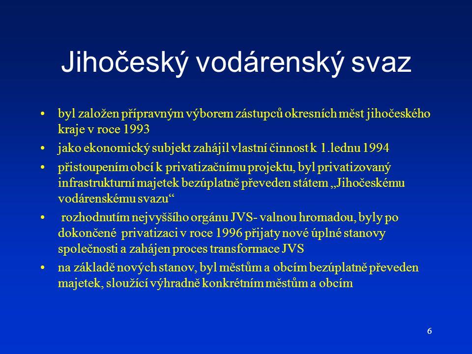 6 Jihočeský vodárenský svaz byl založen přípravným výborem zástupců okresních měst jihočeského kraje v roce 1993 jako ekonomický subjekt zahájil vlast
