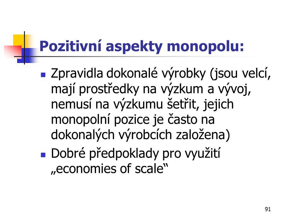 90 4. Monopolní trh nemůže fungovat, protože nelze stanovit nabídku monopolu.