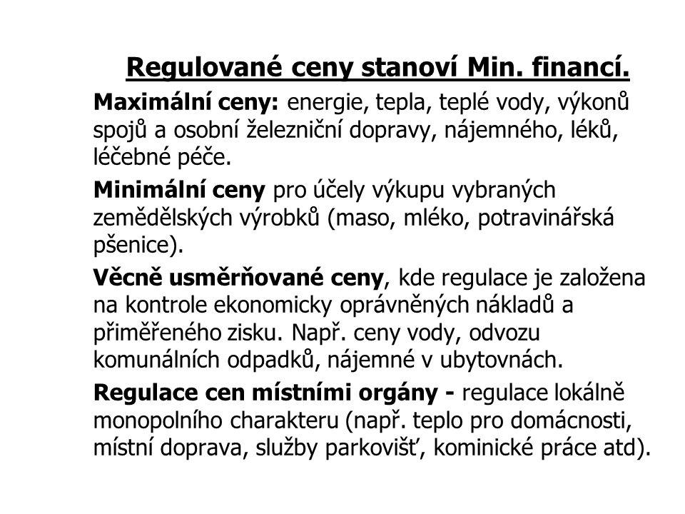 95 Jak je to u nás s regulací cen? Hlavním důvodem je regulace přirozených monopolů: výrobců a distributorů elektřiny, plynu, tepla a vody pošty a tel