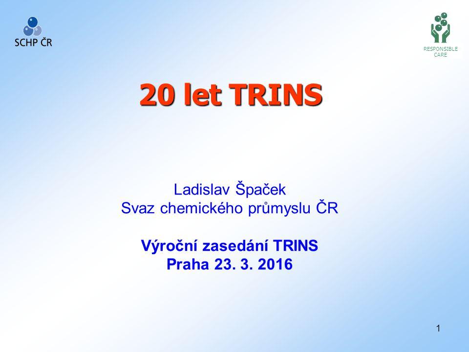 1 RESPONSIBLE CARE 20 let TRINS Ladislav Špaček Svaz chemického průmyslu ČR Výroční zasedání TRINS Praha 23. 3. 2016