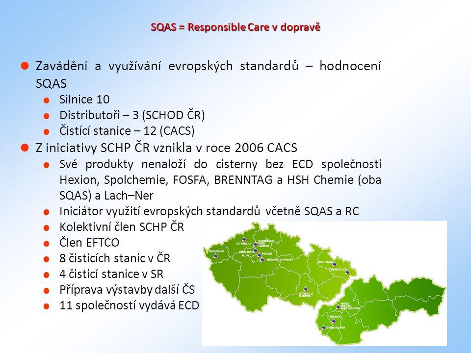 10 SQAS = Responsible Care v dopravě  Zavádění a využívání evropských standardů – hodnocení SQAS  Silnice 10  Distributoři – 3 (SCHOD ČR)  Čistící stanice – 12 (CACS)  Z iniciativy SCHP ČR vznikla v roce 2006 CACS  Své produkty nenaloží do cisterny bez ECD společnosti Hexion, Spolchemie, FOSFA, BRENNTAG a HSH Chemie (oba SQAS) a Lach–Ner  Iniciátor využití evropských standardů včetně SQAS a RC  Kolektivní člen SCHP ČR  Člen EFTCO  8 čisticích stanic v ČR  4 čisticí stanice v SR  Příprava výstavby další ČS  11 společností vydává ECD
