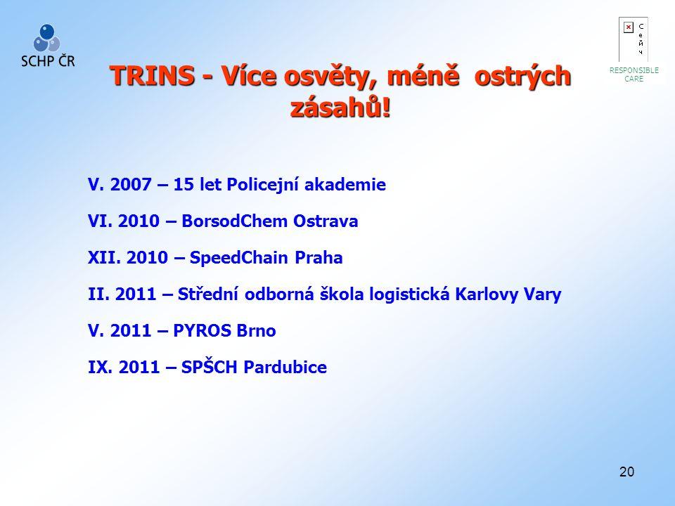 20 RESPONSIBLE CARE TRINS - Více osvěty, méně ostrých zásahů! V. 2007 – 15 let Policejní akademie VI. 2010 – BorsodChem Ostrava XII. 2010 – SpeedChain