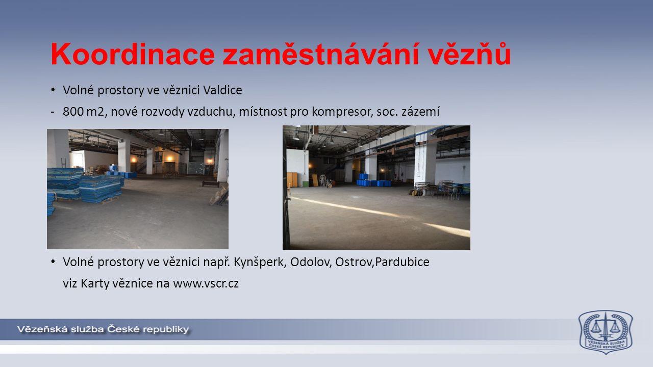 Koordinace zaměstnávání vězňů Volné prostory ve věznici Valdice -800 m2, nové rozvody vzduchu, místnost pro kompresor, soc.