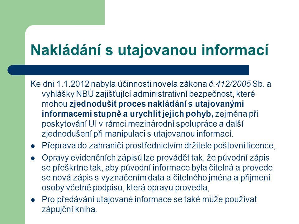 Nakládání s utajovanou informací Ke dni 1.1.2012 nabyla účinnosti novela zákona č.412/2005 Sb. a vyhlášky NBÚ zajišťující administrativní bezpečnost,