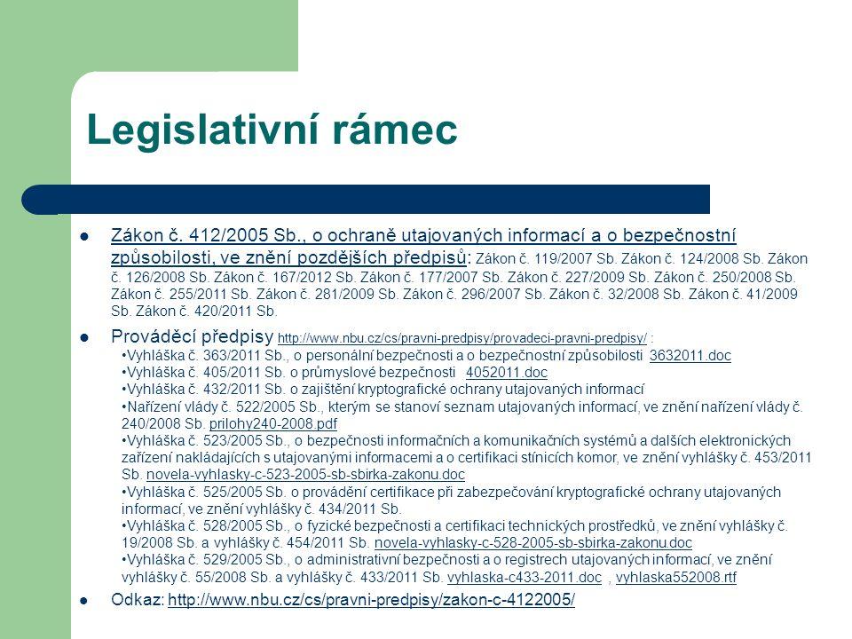 Legislativní rámec Zákon č. 412/2005 Sb., o ochraně utajovaných informací a o bezpečnostní způsobilosti, ve znění pozdějších předpisů: Zákon č. 119/20