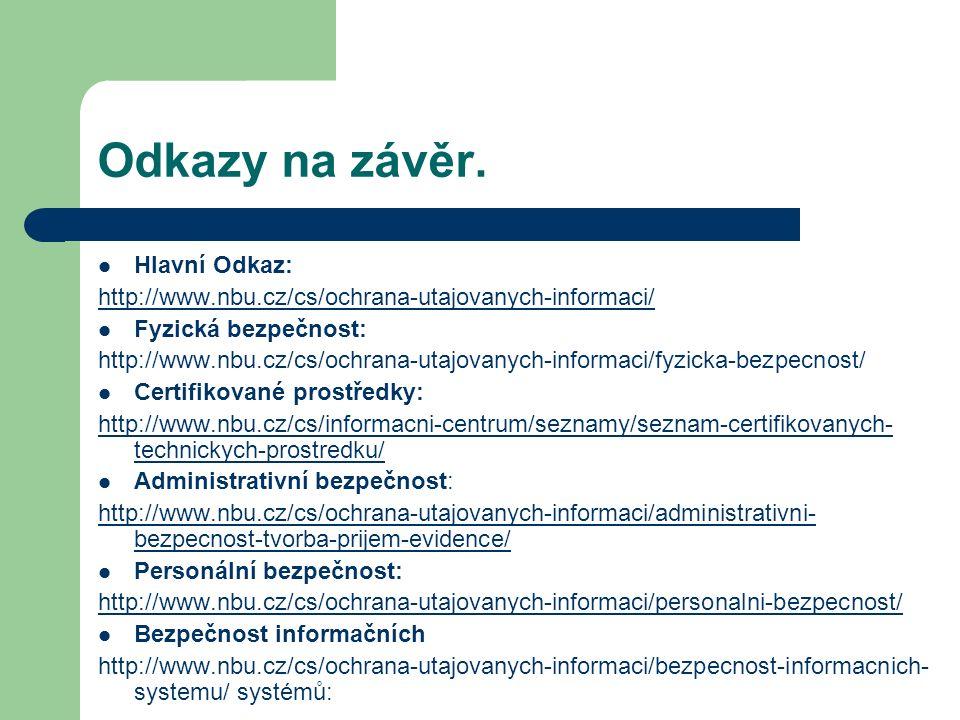 Odkazy na závěr. Hlavní Odkaz: http://www.nbu.cz/cs/ochrana-utajovanych-informaci/ Fyzická bezpečnost: http://www.nbu.cz/cs/ochrana-utajovanych-inform