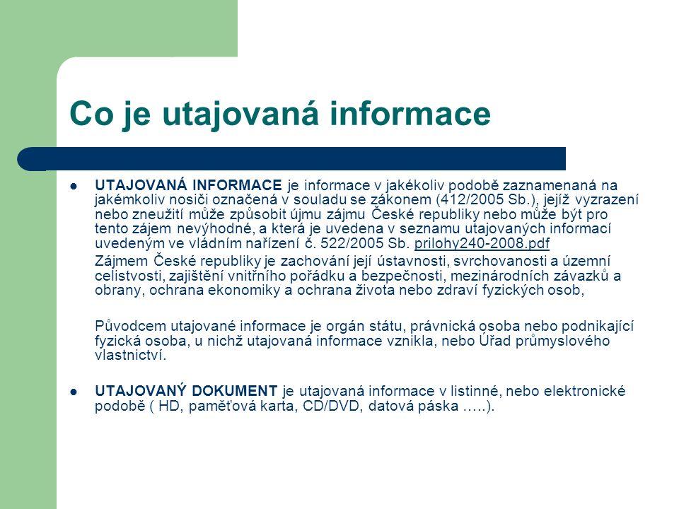 Co je utajovaná informace UTAJOVANÁ INFORMACE je informace v jakékoliv podobě zaznamenaná na jakémkoliv nosiči označená v souladu se zákonem (412/2005 Sb.), jejíž vyzrazení nebo zneužití může způsobit újmu zájmu České republiky nebo může být pro tento zájem nevýhodné, a která je uvedena v seznamu utajovaných informací uvedeným ve vládním nařízení č.