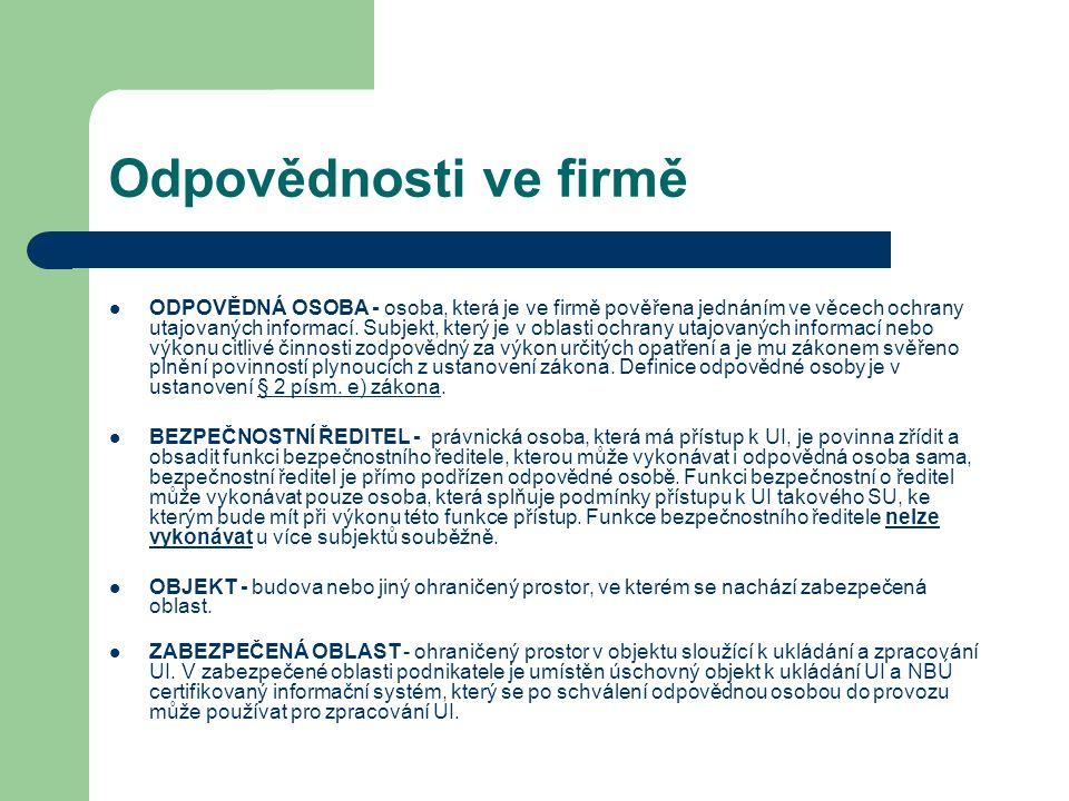 Odpovědnosti ve firmě ODPOVĚDNÁ OSOBA - osoba, která je ve firmě pověřena jednáním ve věcech ochrany utajovaných informací. Subjekt, který je v oblast