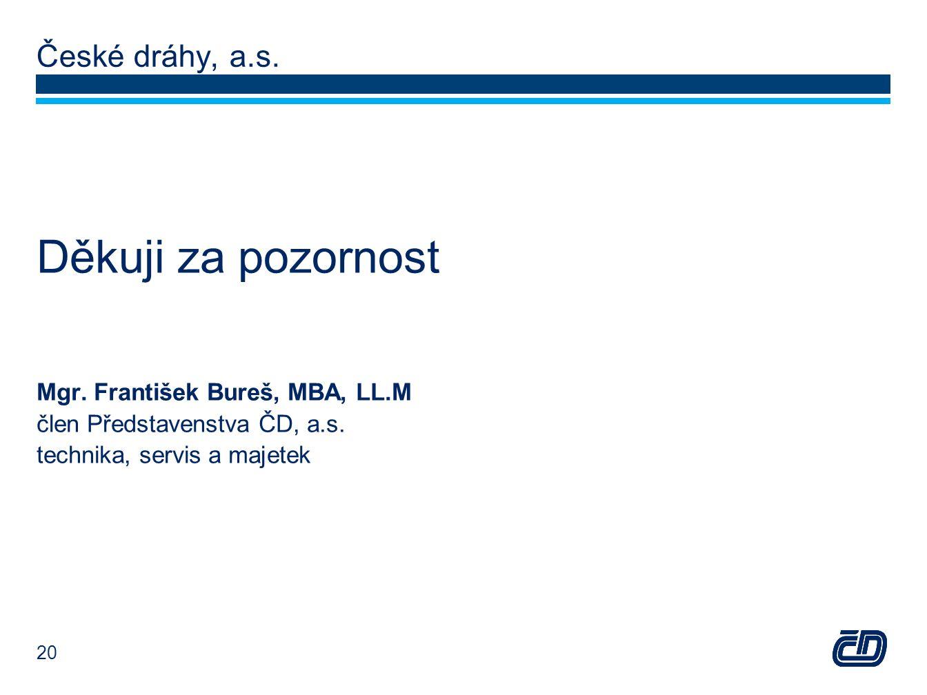 České dráhy, a.s. Děkuji za pozornost Mgr. František Bureš, MBA, LL.M člen Představenstva ČD, a.s.