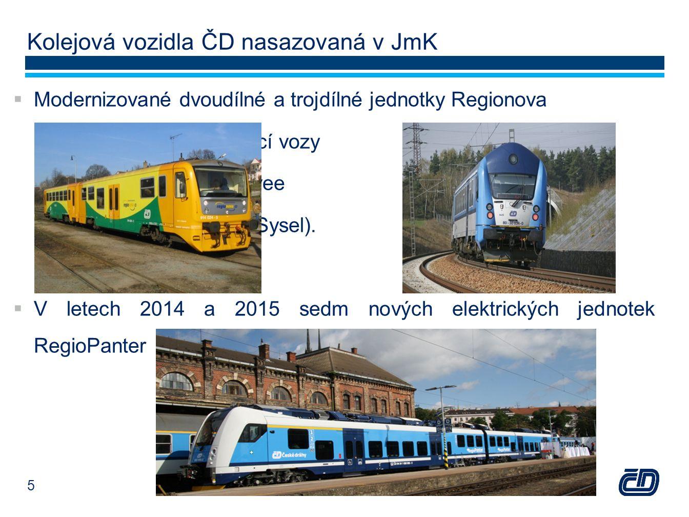 Kolejová vozidla ČD nasazovaná v JmK  Modernizované dvoudílné a trojdílné jednotky Regionova a řídící vozy Bfhpvee (tzv.