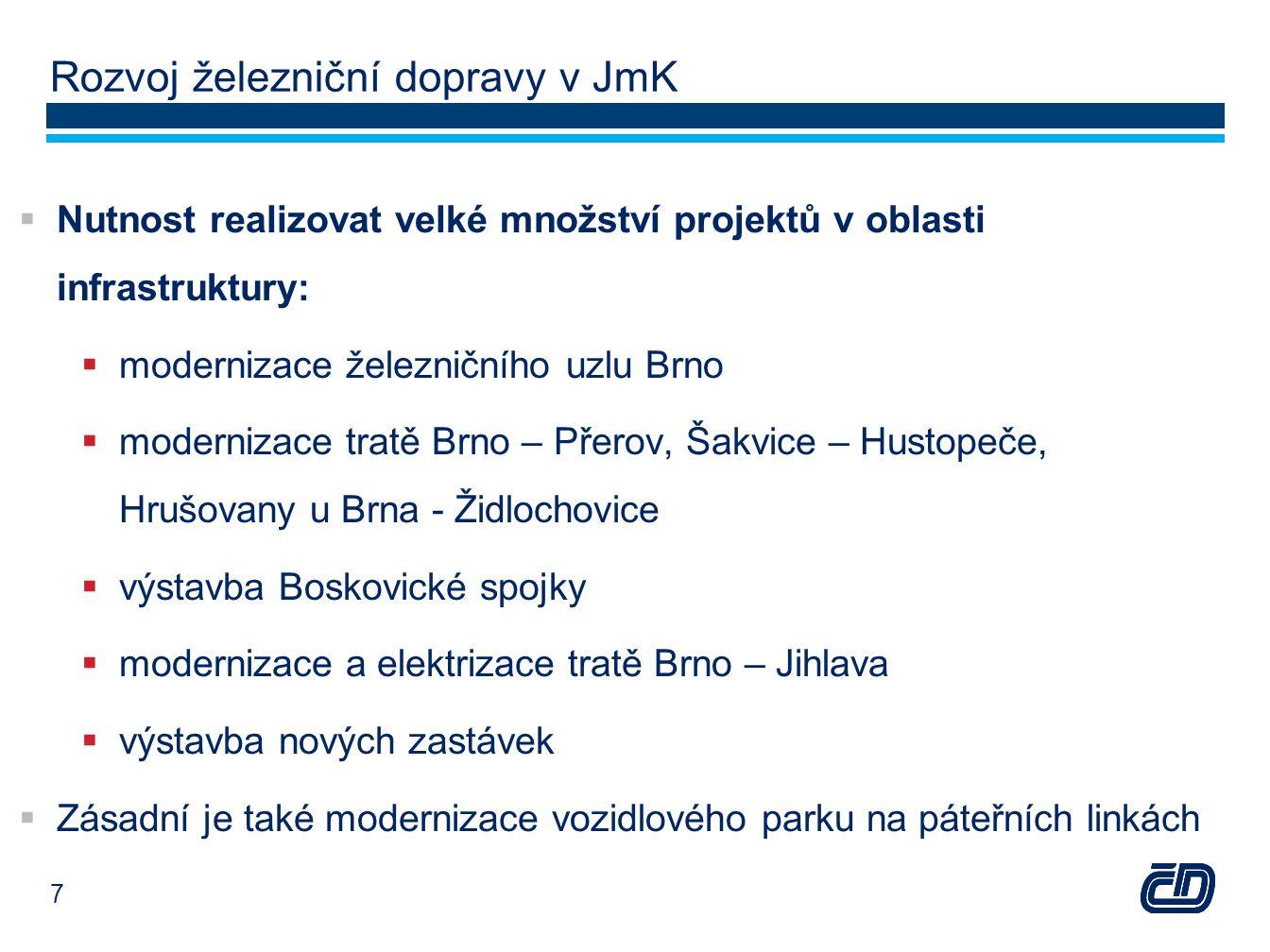 Rozvoj železniční dopravy v JmK  Nutnost realizovat velké množství projektů v oblasti infrastruktury:  modernizace železničního uzlu Brno  modernizace tratě Brno – Přerov, Šakvice – Hustopeče, Hrušovany u Brna - Židlochovice  výstavba Boskovické spojky  modernizace a elektrizace tratě Brno – Jihlava  výstavba nových zastávek  Zásadní je také modernizace vozidlového parku na páteřních linkách 7