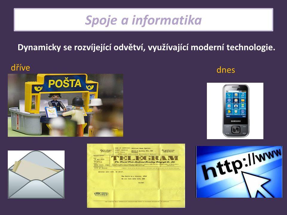 Spoje a informatika Dynamicky se rozvíjející odvětví, využívající moderní technologie. dříve dnes