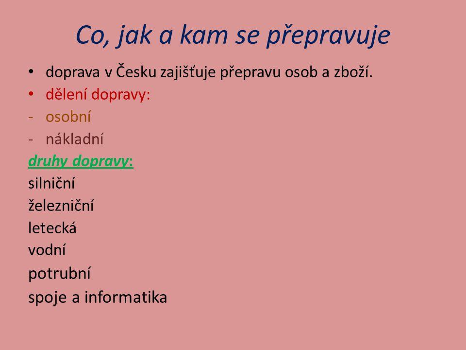 Co, jak a kam se přepravuje doprava v Česku zajišťuje přepravu osob a zboží.