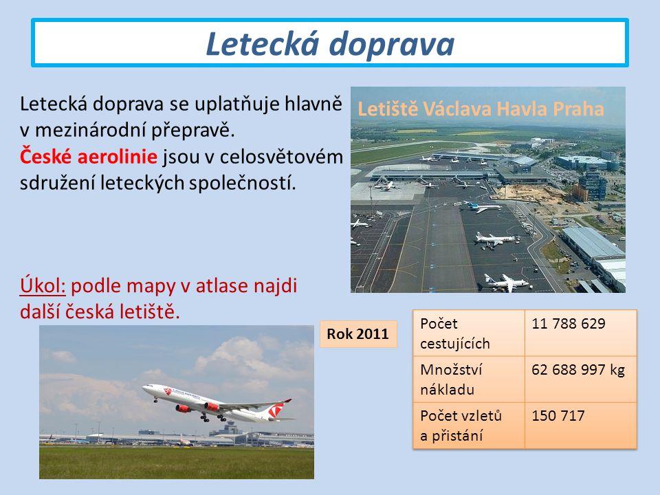 Letecká doprava Letiště Václava Havla Praha Letecká doprava se uplatňuje hlavně v mezinárodní přepravě.